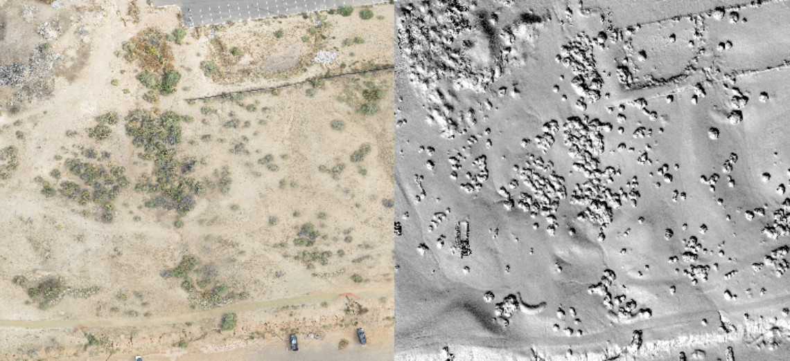 Comparison of raw imagery to a digital terrain model