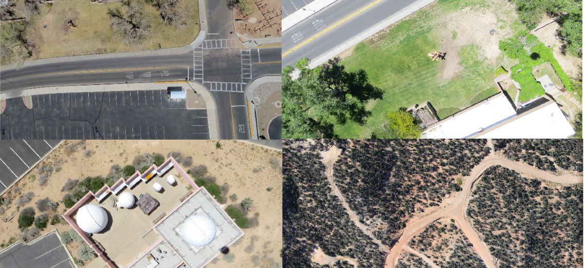 Four nadir images: pavement, grass, buildings, and dirt roads